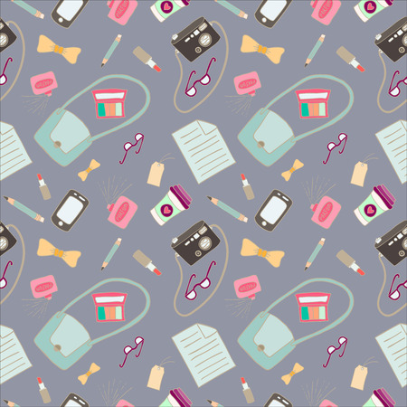What is in my bag seamless pattern Vector