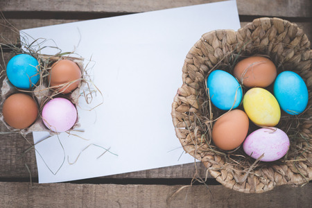 Easter rustic eggs photo composition illustration home village blank with place for your text. illustration