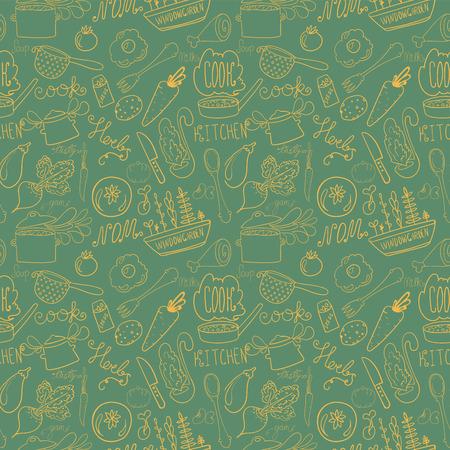 handdrawn kitchen doodle seamless pattern