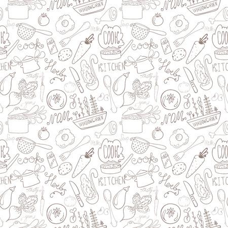 handdrawn kitchen doodle seamless pattern Vector