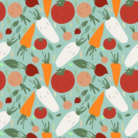 veggies: Cute veggies seamless patterm