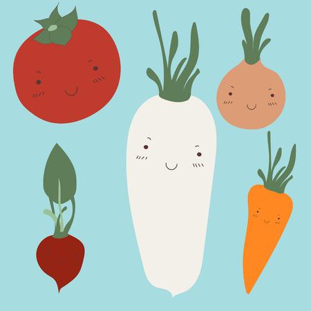 veggies: Cute veggies flat objects Illustration