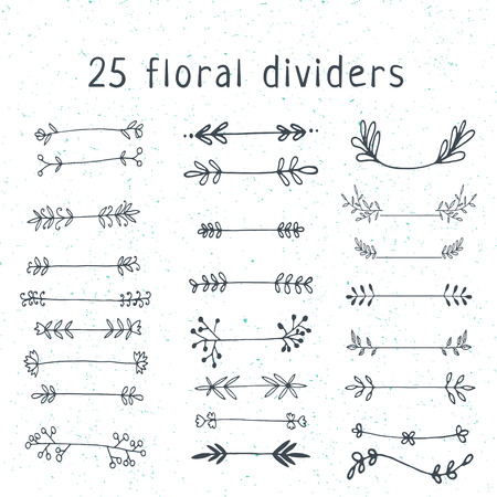 Hand drawn unique doodle floral vector vintage dividers