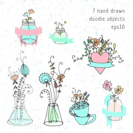 card making: Wedding save the datehand drawn doodle card making kit. Mason jars and ribbons.