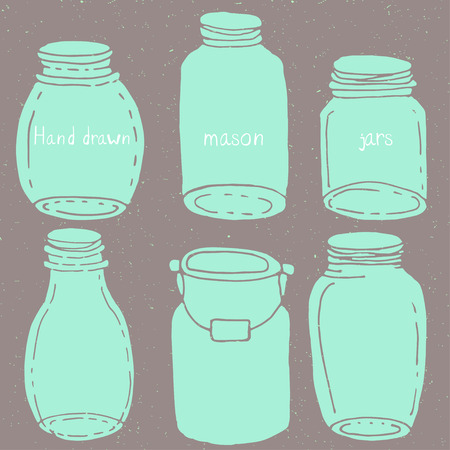 Hand drawn vector doodle mason jars kit Vector