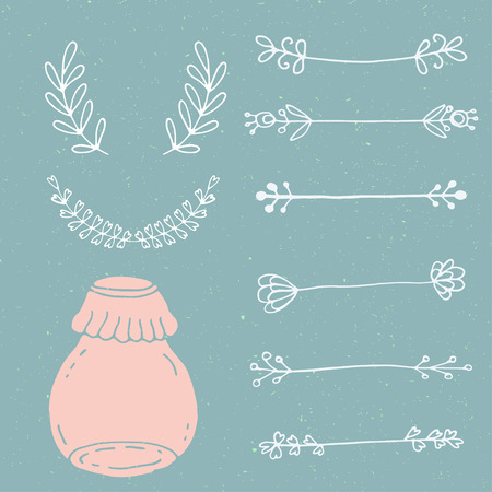 Set of hand drawn doodle floral vector elements and mason jar