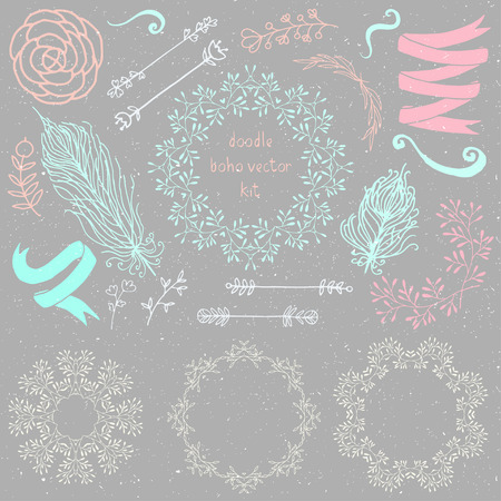 floral objects: Hand drawn vintage boho weddingkit doodle frames and floral objects