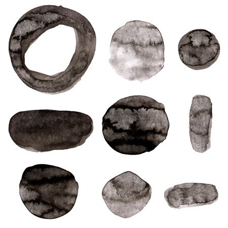 leaden: Hand drawn watercolor vector texture, blobs and strokes