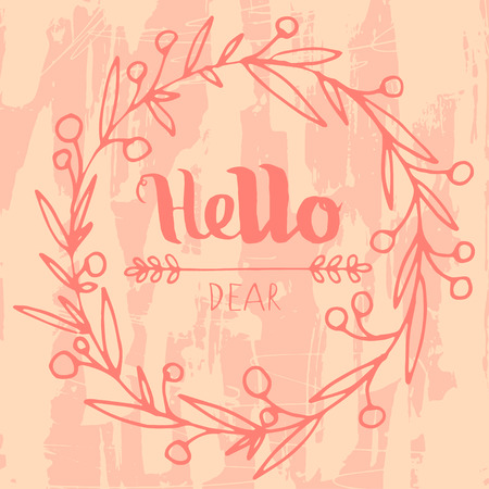 Hello grungy hand drawn  lettering poster card Vector