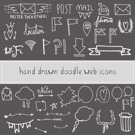web mail: Set of hand drawn  doodle web mail icons Illustration