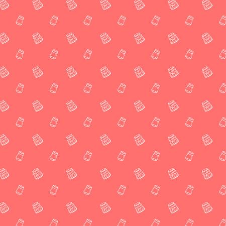 hand jam: Hand drawn doodle seamless sweet jam in a jar pattern Illustration