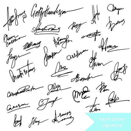 Hand getrokken uniquw handtekening tekenen en simbols