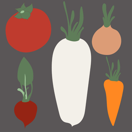 allium: Flat icons set of popular tasty vegetables in cute modern kawaii style. Flat design stylish vector illustration symbol collection. Isolated on white background.