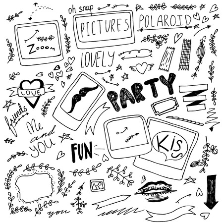 scetch: Set of hand drawn doodle  photo party items Illustration