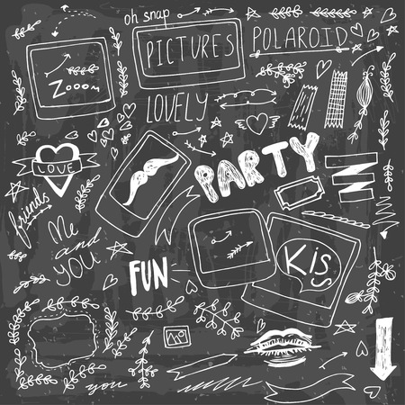 Set of hand drawn doodle  polaroid party items Illustration