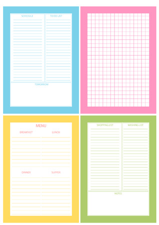 Printable Planner Template. Set Of 4 Sheets For Printable Diary... Royalty  Free Cliparts, Vectors, And Stock Illustration. Image 39443514.  Diary Paper Printable