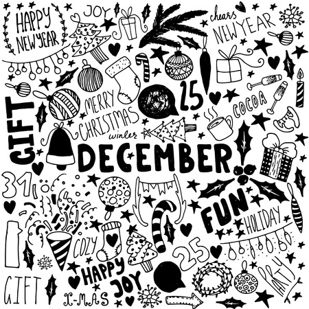Doodle Christmas background. Unique vintage items. New year illustrations.