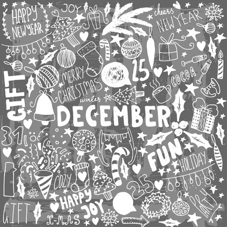 lightsdrawing: Doodle Christmas background. Unique vintage items. New year illustrations.