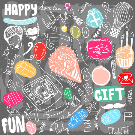 scetch: Doodle Birthday party background. Hand drawn scetch elements. Illustration