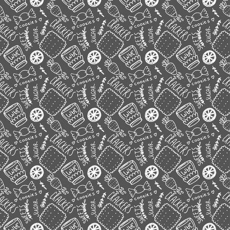treats: Lovely and cute sweets hand drawn seamless pattern. Sweets and treats. Illustration