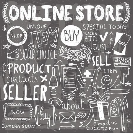 Online shopping hand drawn doodles. Set of unique elements.
