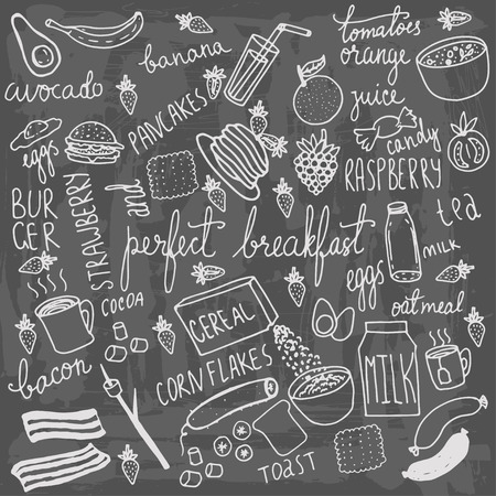 colazione: Il cibo della colazione e le icone doodle. Disegno a mano elementi vettoriali. Vettoriali