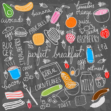 Breakfast food and icons doodle set. Hand drawn vector elements. Vectores