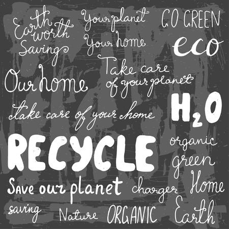 Set of hand drawn eco friendly doodle icons. Unique vector elements. Vector