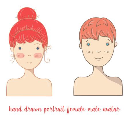 male portrait: Hand  drawn doodle female and male portrait. Social media avatar.