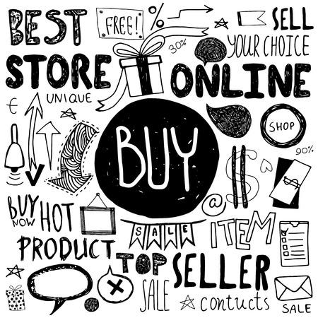 Hand getrokken doodle winkel verkoop pictogrammen. Verkoop vector elementen.
