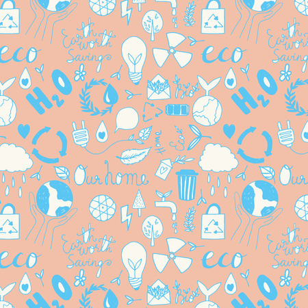 Hand drawn seamleass eco friendly pattern. Save your planet. Vector