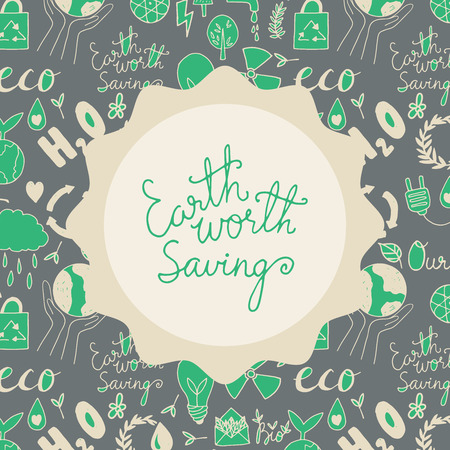Save your planet. Earth is your hope. Hand drawn vector doodle illustration. Vector