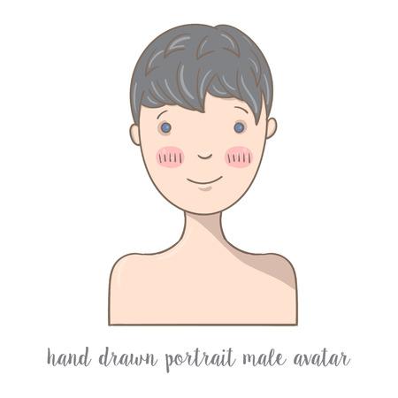male portrait: Hand  drawn doodle male portrait. Social media avatar. Illustration