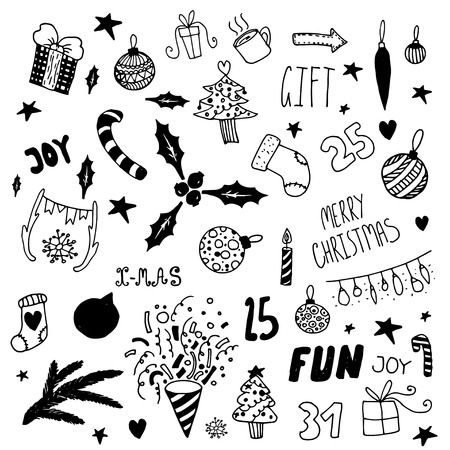 Set of hand drawn happy new year doodle elements. Unique vector icons.