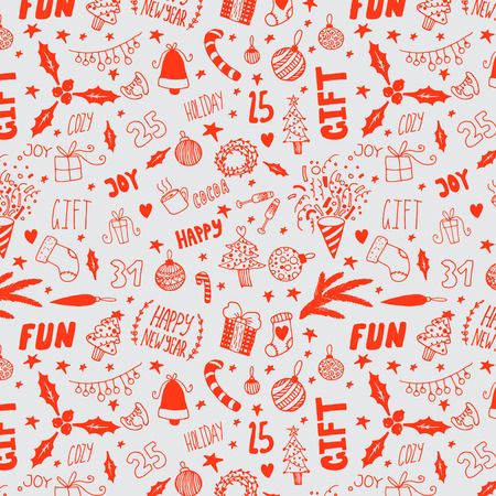 hand drawn happy new year doodle seamless pattern Illustration