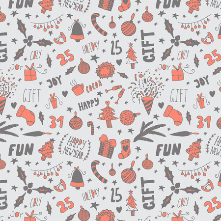 lightsdrawing: hand drawn happy new year doodle seamless pattern Illustration
