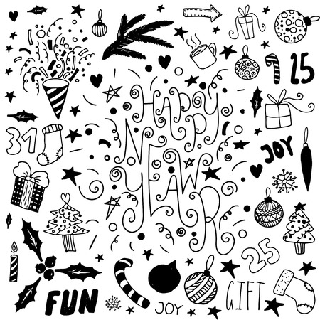 lightsdrawing: Set of hand drawn doodle icons and letterings. Happy new year and merry christmas.