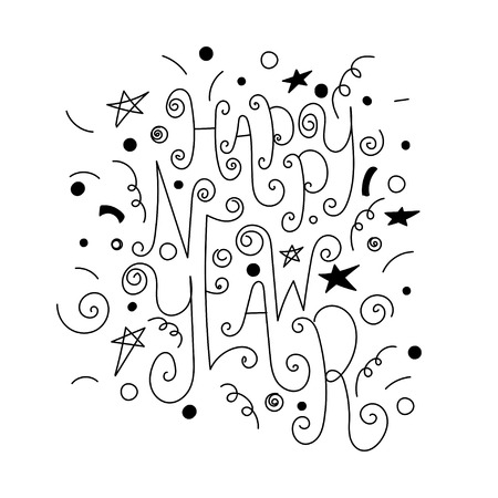 Set of hand drawn doodle icons and letterings. Happy new year and merry christmas.