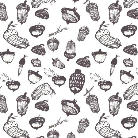 Vector naadloos patroon in een aquarel stijl. Herfst eiken bladeren en eikels.