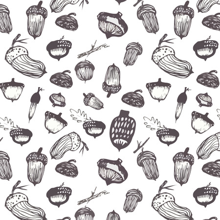 Vector seamless pattern in a watercolor style. Autumn oak leaves and acorns. Vector