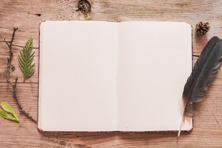 stile: Identità e mockup mestiere set con effetto filtro retrò. Carino annata mock up su sfondo di legno. Stile naturale e boho Archivio Fotografico