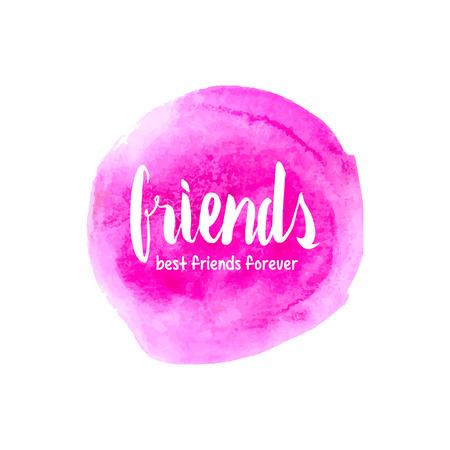 amicizia: Sei il mio migliore amico. Giorno di amicizia. Lettering disegnato a mano sulla trama acquerello. Vettoriali