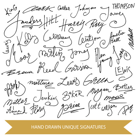 Hand drawn signature collection. Set of unique vector elements. Illustration
