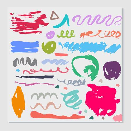 Set of  hand drawn unique colorful ink elements. Vintage vector items. Vectores