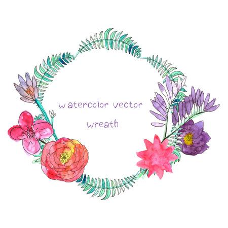 vintage colors: Watercolor floral flower frame.  Illustration
