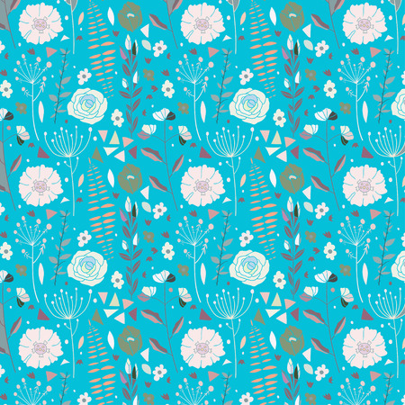 walpaper: Hand drawn vector  Seamless floral pattern.  Vintage walpaper