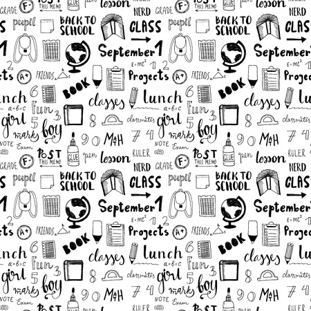 Hand drawn back to school doodle vector pattern. free hand style.