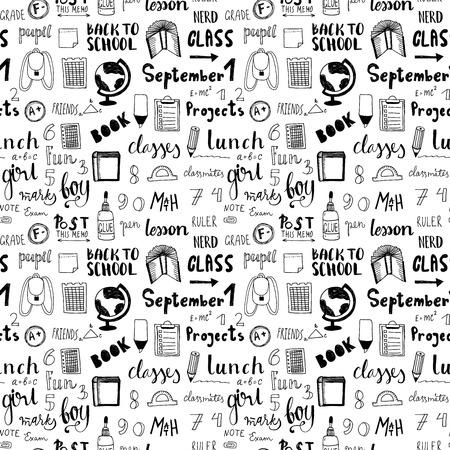 Hand getrokken terug naar school doodle vector patroon. vrije hand stijl. Stock Illustratie