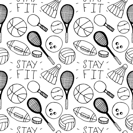 inventario: Hand drawn doodle seamless pattern. Sport inventory. Unique vector illustration. Vectores