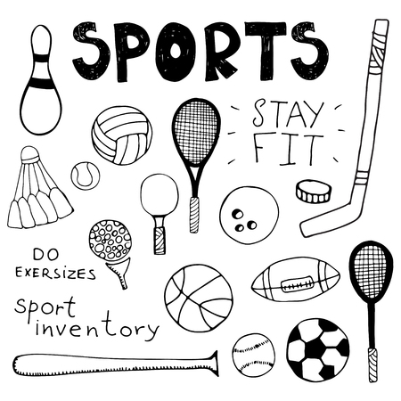 ref: Dibujado a mano elementos del doodle. Utillaje deportivo. Ejemplo único vector.